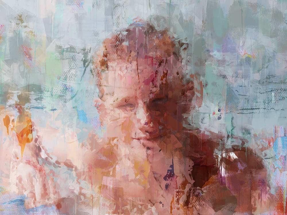 Oil Slick Portrait Digital Art Painting Young Man in a Pool