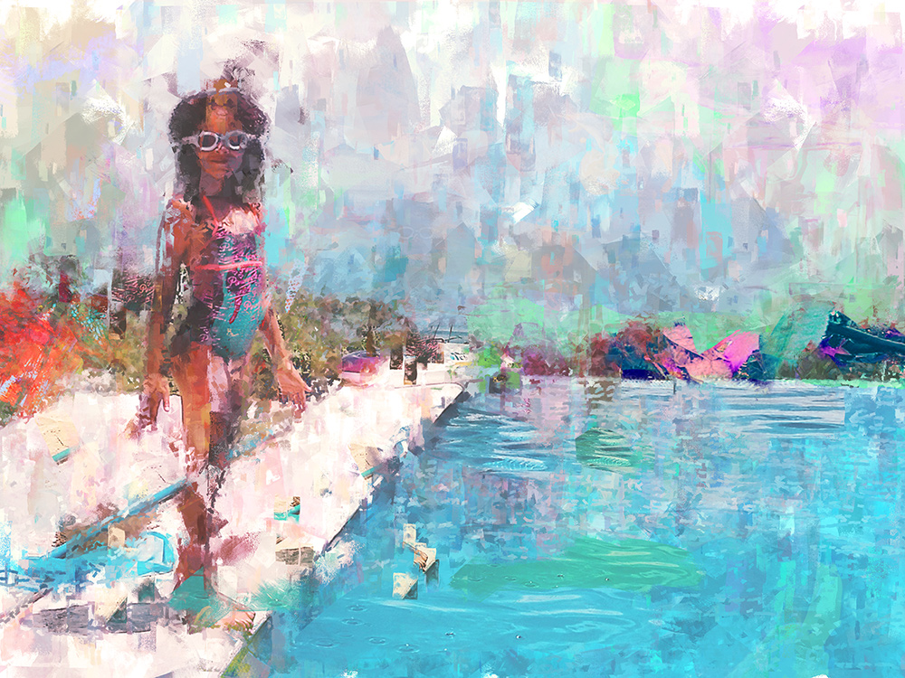 Girl By A Pool Digital Art Painting