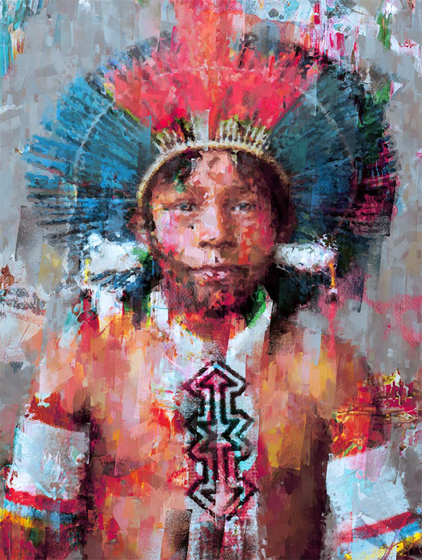 Kayapo Tribe Member portrait - Digital Art Painting